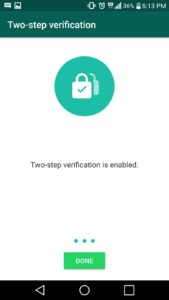 enable WhatsApp's two-step verification